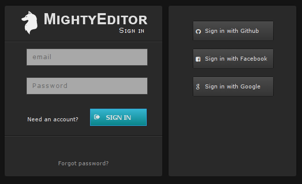 MightyEditor sign up
